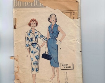 1960s Vintage Sewing Pattern Butterick 8501 Misses Slim Sleeveless Dress Summer Size 12 Bust 32 60s  99