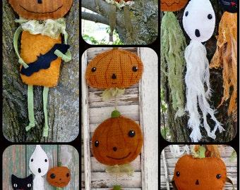 Vintage Halloween Party wool pattern PDF - 6 projects in one - decor fall felt primitive folk art