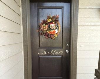 Hello Decal - Vinyl Wall Decal - Front Door Sticker - Hello Sticker - Door Sticker - Front Door Greeting - Front Door Decoration