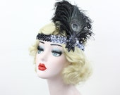 Black and Silver Flapper Headband - Peacock Feather Fascinator - Great Gatsby Headpiece - Prom Hair Accessory - Halloween Costume