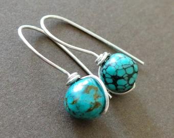 Organic Rustic Turquoise Nugget Wire Wrapped Earrings Birthstone Earrings Simple Modern Earrings Understated Earrings