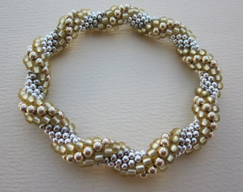 Made to order -- spiral sterling and gold-filled bead crochet bracelet -- plus FREE bead crochet pdf tutorial