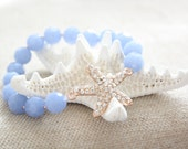 Rose Gold Crystal Starfish and Periwinkle Blue Stackable Bling Bracelet
