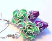 Green and Purple Day of the Dead Floral Sugar Skull Earrings