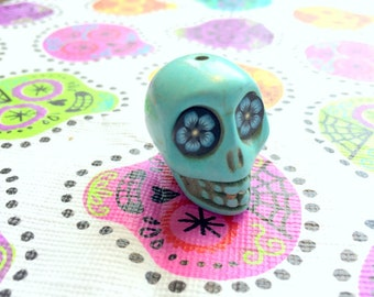 Gigantic Turquoise Howlite Skull Bead or Pendant Flower Eyes