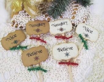 Christmas Cupcake Toppers with tinsel ribbons - Set of 18 - Naughty Nice Ho Ho Ho - Christmas Holiday Party Food Picks