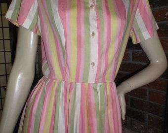 60s S Sherbert Stripes Shirtwaist Dress NPC Fashions Vintage 1960s