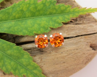 Madeira Amber Citrine Earrings in Gold, Silver, or Platinum with Genuine Gems, 6mm - Free Gift Wrapping