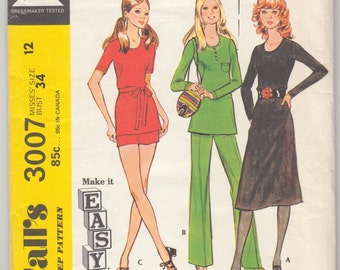 "Vintage Sewing Pattern 1970's Dress, Blouse, Pants 7 Shorts McCall's 3007 34"" Bust- Free Pattern Grading E-book Included"