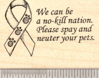 Animal Welfare Ribbon Rubber Stamp, Spay and Neuter H5611 Wood Mounted