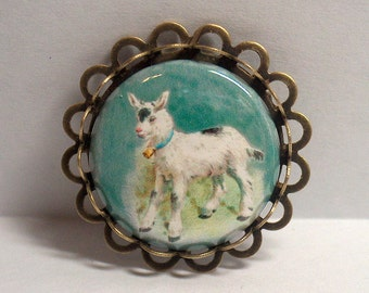 Brooch Pin Bezel Handmade Jewelry Picture Goat Kid Farm Animal