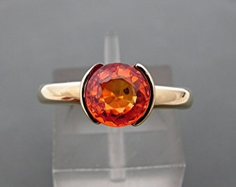 AAAA Orange Sapphire 7.0mm Round 1.64  Carats  Heavy bezel set 14K Yellow gold Stack-able Engagement ring. 2101