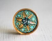 Turquoise Gold Star 18mm Czech Glass Button