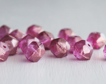 15 Fuchsia 10mm Czech Glass English Cut