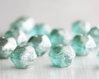 15 Teal Silver Finish 10mm Czech Glass English Cut