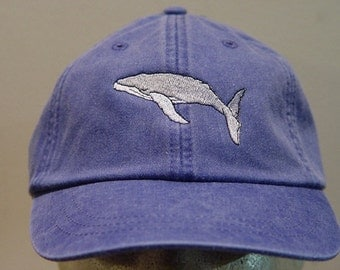 HUMPBACK WHALE HAT - One Embroidered Wildlife Cap - Price Embroidery Apparel - 24 Color Caps Available