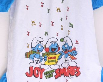 Vintage girls smurfs nightgown flannel nightgown for girls 4t