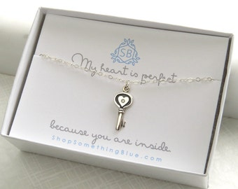 Girlfriend Gift • Genuine Diamond Key Necklace • Heart Shaped Key With Diamond Accent • Love You Gift • Sweetheart • Key To My Heart