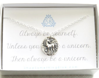 Unicorn Medallion Necklace • Unicorn Charm • Unicorn Lover • Magical Jewelry • Inspiration Gift • Best Friend Gift • Always Be A Unicorn
