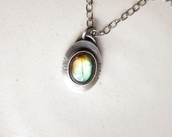 Small Labraorite Necklace  |||  Sterling Silver