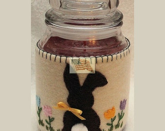 Candle Cozy - Jar Wrap - Easter Bunny - Felt - Handsewen