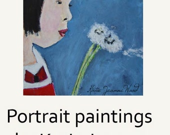 Asian Girl Acrylic Portrait Painting. Original Art. Dandelions Summertime Art. Gift for Friend
