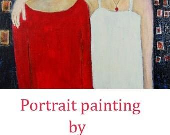 Acrylic Mixed Media Portrait Painting. Best Girl Friends. Woman Portrait. Cityscape Painting.