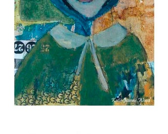 Woman Bonnet Portrait Painting Print. Home Wall Art Prints. Living Room Decor.