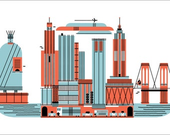 "New York City American Spaces 22x14"" Art Print by Raymond Biesinger"