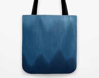 Ombre Blue Wave Canvas Tote Bag in Graphic Blue Jean Denim Look Pattern