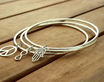 Silver charm bracelet | silver charm bangle | silver bangle | 2 mm | stacking bangle | bangle set | womens jewelry | made to order