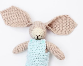 Brown bunny wearing mint overalls, bunny baby toy, crochet bunny toy, cute bunny plush, knitted toys, soft toys, bunny rabbit, new baby gift