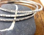 Set of 3 Sterling Bangle Bracelets - Sterling Silver Bangles set - Textured Sterling Bangle set - size Large Medium or Small