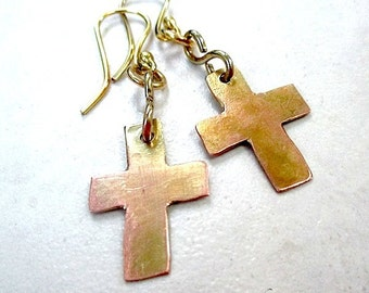 Christian Jewelry, Mixed Metal Cross Earrings, Religious Statement, Rustic Copper Dangles, Brass Findings, Eco Friendly Primitive Metalwork