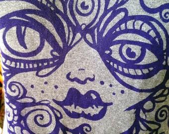 Purple on Gray Goddess in All of Us screen print shirt long sleeve