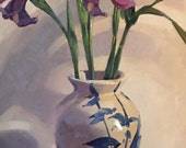 """Art painting flowers floral still life """"Blue Light"""" orignial oil on canvas by Sarah Sedwick"""