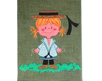 Little Girl Linen Wall Hanging Ready to Hang
