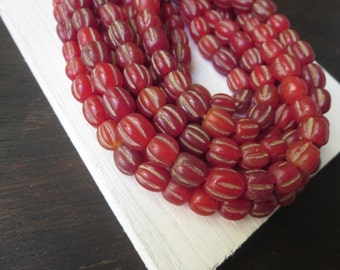 red round lampwork glass beads, glossy translucent wavy melon dirty , rustic aged look , indonesian  -  8 to  10mm  / 12 pcs - 6a8-6