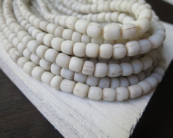 small matte white seed beads  rustic opaque white glass beads barrel tube spacer Modern Indo-pacific 3 to 6mm / 22 inches strand - 6a14-1