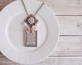 Shabby Cottage Chic Inspiration Brave and Strong Rhinestone and Pearls Statement Necklace