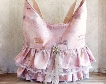 Shabby Cottage Chic Marie Antoinette Themed Pink and Grey Ruffles and Lace Shoulder Market Tote Bag