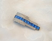 Vintage Art Deco Dress Clip Rhinestone Sapphire Crystal Silvertone Restored