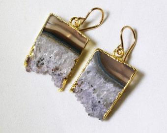 Raw Amethyst Geode Slice Earrings Amethyst Crystal Earrings February Birthstone One of a Kind Geode Earrings AM-E-101A-007g