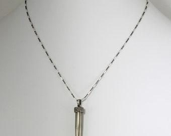 Golden Pyrite Tooth Pendant Pavé Diamond Necklace Genuine Diamonds Pyrite Talon Necklace Pavé Diamond Jewelry GEM-N-182-Pyrite