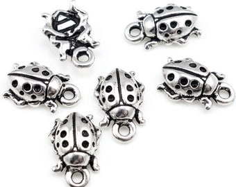 Silver Ladybug Charms TierraCast Lady Bug Charms Antique Silver Charms Summer Spring Fall Insect Charms Three Dimensional 3-D (P139) (P139)