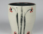 Porcelain Cup, Grey with Minimalist Stripes