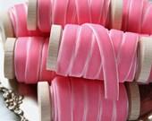 """Pink Velvet Ribbon, Bright Pink Velvet Ribbon, Pink Ribbon, 3/8"""" Velvet Ribbon, Velvet Ribbon Spool, 3 yards, Pink Wedding"""