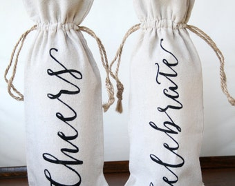 Wine Bag, Linen Wine Bag, Cheers Wine Bag, Celebrate Wine Bag, Calligraphy, Engagement Gift, Birthday Gift, Wine Gift Bag, Hostess Gift