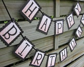 Happy Birthday Banner in Black and Peach Coral Ombre Hexagon - Birthday Party Garland Decoration - Happy Birthday Sign