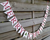 Merry Christmas Banner - Christmas Decoration in Red and White - Christmas Card Photo Sign